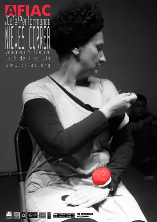 Création de Nieves Correa pour les AFIAC/Café/Performance le 4 février à Fiac.